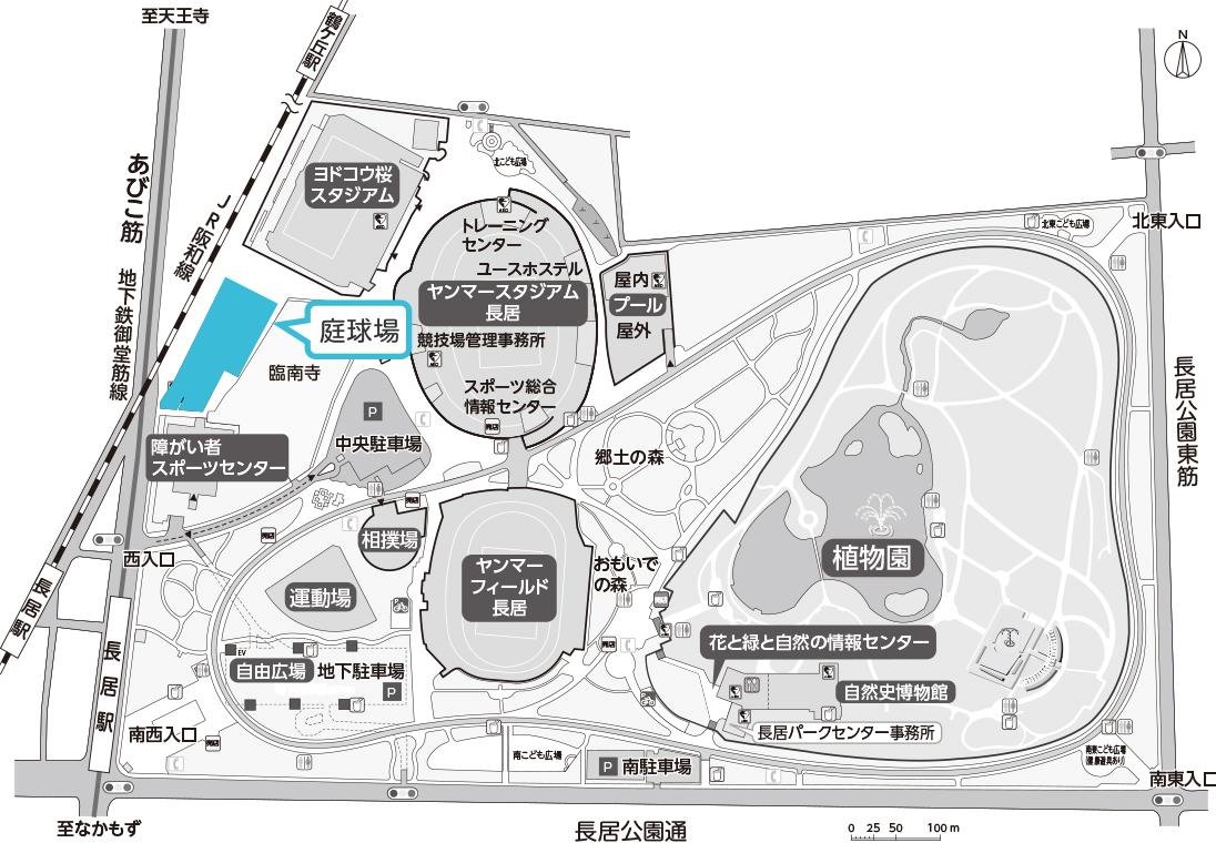 長居庭球場地図